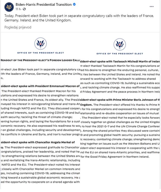 Biden sa Johnsonom razgovarao i o Zapadnom Balkanu